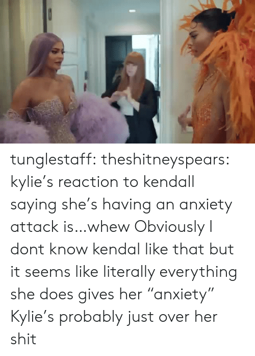 "kendal: tunglestaff:  theshitneyspears:  kylie's reaction to kendall saying she's having an anxiety attack is…whew  Obviously I dont know kendal like that but it seems like literally everything she does gives her ""anxiety"" Kylie's probably just over her shit"