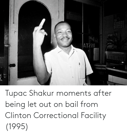 Shakur: Tupac Shakur moments after being let out on bail from Clinton Correctional Facility (1995)
