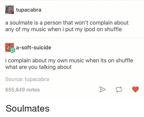 Ipod: tupacabra  a soulmate is a person that won't complain about  any of my music when i put my ipod on shuffle  a-soft-suicide  i complain about my own music when its on shuffle  what are you talking about  Source: tupacabra  655,649 notes Soulmates