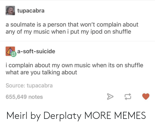 Ipod: tupacabra  a soulmate is a person that won't complain about  any of my music when i put my ipod on shuffle  a-soft-suicide  i complain about my own music when its on shuffle  what are you talking about  Source: tupacabra  655,649 notes Meirl by Derplaty MORE MEMES