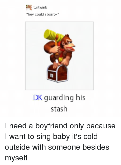 "Baby, It's Cold Outside, Memes, and Singing: tur twink  ""hey could i borro-""  DK guarding his  stash I need a boyfriend only because I want to sing baby it's cold outside with someone besides myself"