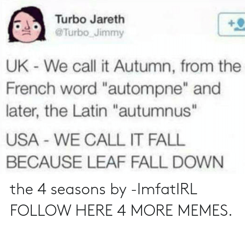 """fall down: Turbo Jareth  @Turbo Jimmy  UK - We call it Autumn, from the  French word """"autompne"""" and  later, the Latin """"autumnus""""  USA WE CALL IT FALL  BECAUSE LEAF FALL DOWN the 4 seasons by -ImfatIRL FOLLOW HERE 4 MORE MEMES."""