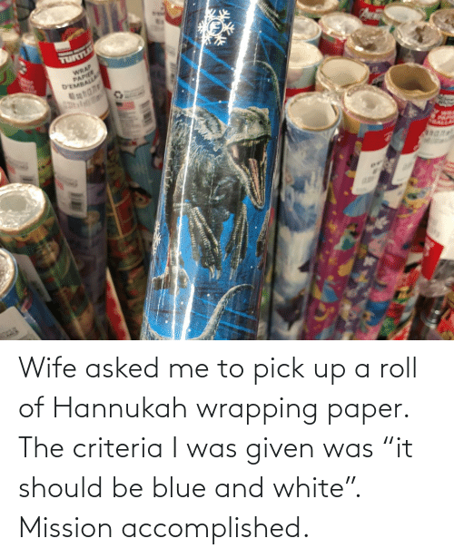 "accomplished: TURLE  WRAP  PAPIER  D'EMBALLA Wife asked me to pick up a roll of Hannukah wrapping paper. The criteria I was given was ""it should be blue and white"". Mission accomplished."