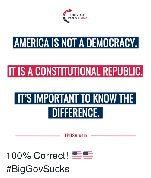 America, Anaconda, and Memes: TURNING  POINT USA  AMERICA IS NOT A DEMOCRACY  IT IS A CONSTITUTIONAL REPUBLIC  IT'S IMPORTANT TO KNOW THE  DIFFERENCE  TPUSA.com 100% Correct! 🇺🇸🇺🇸 #BigGovSucks