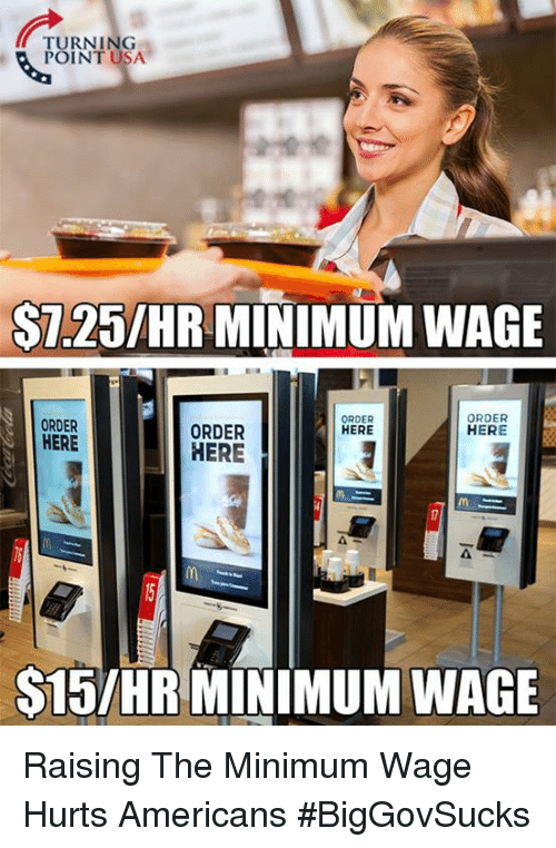 Memes, Minimum Wage, and 🤖: TURNING  POINT USA.  S7.25/HR MINIMUM WAGE  ORDER  ORDER  ORDER  HERE  HERE  HERE  HERE  S15IHR MINIMUM WAGE Raising The Minimum Wage Hurts Americans #BigGovSucks