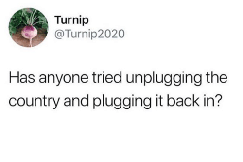 Plugging: Turnip  @Turnip2020  Has anyone tried unplugging the  country and plugging it back in?