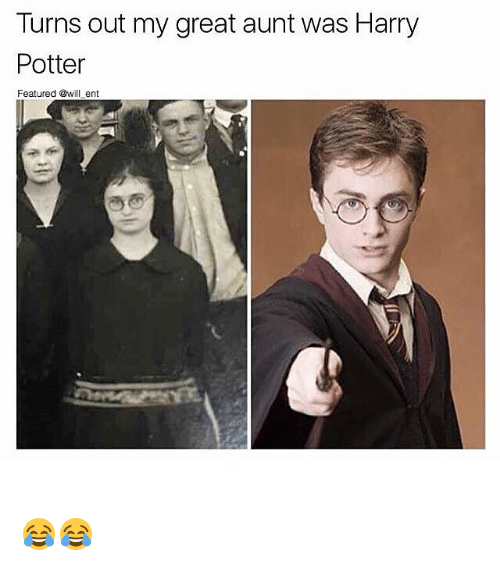 Harry Potter, Memes, and 🤖: Turns out my great aunt was Harry  Potter  Featured @will ent 😂😂