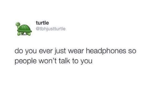 Headphones: turtle  @tbhjustturtle  do you ever just wear headphones so  people won't talk to you