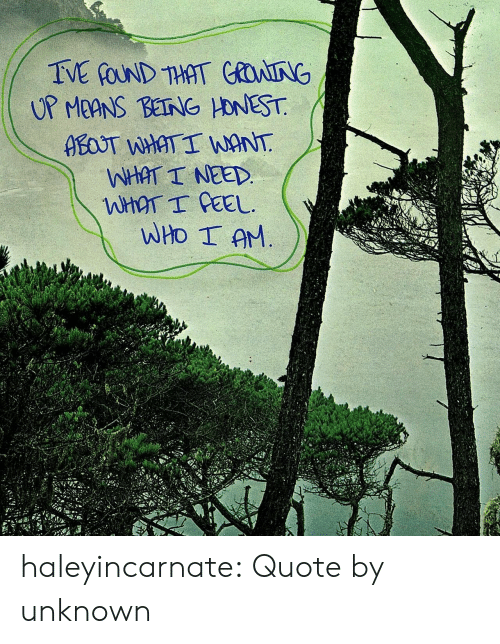 Being Honest: TVE GOUND THAT COAING  UP MEANS BEING HONEST  ABOST WHAT I WANT  WHAT I NEED.  WHAT I CEEL  WHO I AM haleyincarnate:  Quote by unknown