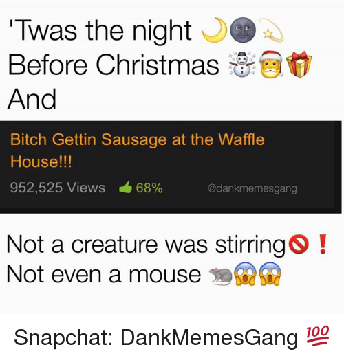 Memes, Snapchat, and Waffle House: Twas the night  S  Before Christmas  And  Bitch Gettin Sausage at the Waffle  House!!!  952,525 Views 68%  @dankmemesgang  Not a creature was stirring SO  Not even a mouse Snapchat: DankMemesGang 💯