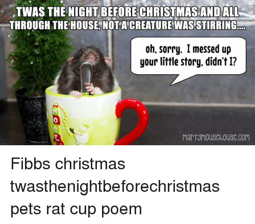 Memes, Poems, and 🤖: TWAS THE NIGHTBEFORE CHRISTMAS AND ALL  THROUGH THE HOUSE, NOTA CREATURE WAS STIRRING  Oh, Sorry. I messed up  your little story, didn't I?  MarTUMouSchouSC Corn Fibbs christmas twasthenightbeforechristmas pets rat cup poem