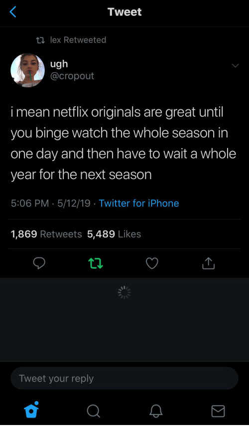 originals: Tweet  ロlex Retweeted  ug  @cropout  i mean netflix originals are great until  you binge watch the whole season in  one day and then have to wait a whole  year for the next season  5:06 PM 5/12/19 Twitter for iPhone  1,869 Retweets 5,489 Likes  Tweet your reply