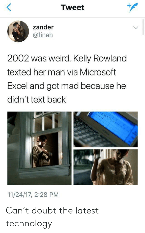 Microsoft Excel: Tweet  1  zander  @finah  2002 was weird. Kelly Rowland  texted her man via Microsoft  Excel and got mad because he  didn't text back  11/24/17, 2:28 PM Can't doubt the latest technology