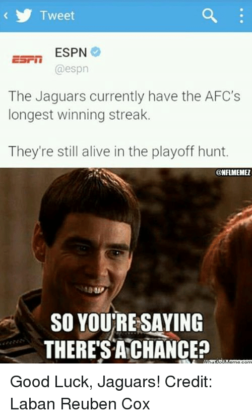 Asian: Tweet  asian ESPN  @espn  The Jaguars currently have the AFC's  longest winning streak.  They're still alive in the playoff hunt.  @NFLMEMEI  SO YOURE SAYING  THERE SA CHANCE? Good Luck, Jaguars!
