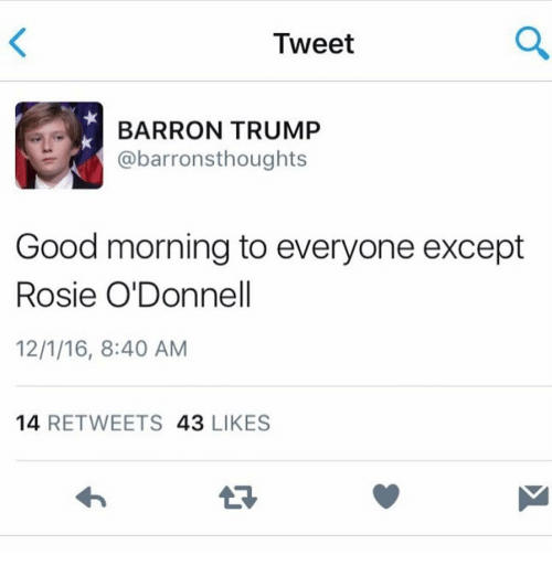 BARRON TRUMP abarronsthoughts Good morning to everyone except Rosie O ...