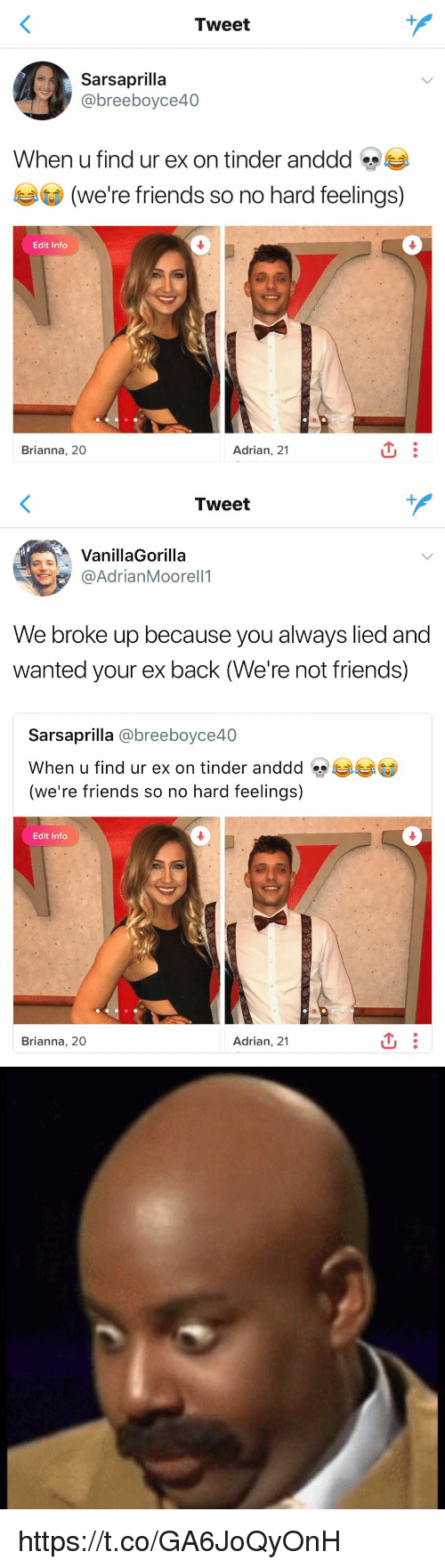 Friends, Tinder, and Girl Memes: Tweet  @breeboyce40  When u find ur ex on tinder anddd s  (we're friends so no hard feelings)  0  Edit Info  Brianna, 20  Adrian, 21   Tweet  VanillaGorilla  @AdrianMoorell1  We broke up because you always lied and  wanted your ex back (We're not friends)  Sarsaprilla @breeboyce40  When u find ur ex on tinder anddd  (we're friends so no hard feelings)  Edit Info  Brianna, 20  Adrian, 21 https://t.co/GA6JoQyOnH