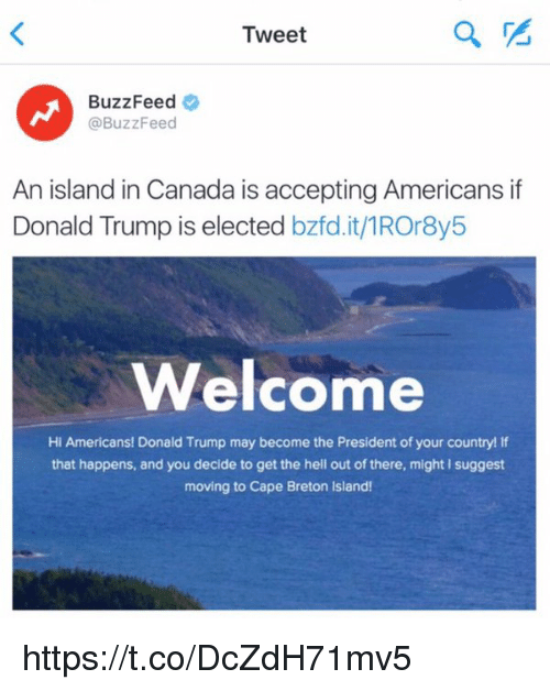 Girl Memes: Tweet  BuzzFeed  @BuzzFeed  An island in Canada is accepting Americans if  Donald Trump is elected  bzfd.it/1ROr8y5  Welcome  Hi Americans! Donald Trump may become the President of your country! If  that happens, and you decide to get the hell out of there, might l suggest  moving to Cape Breton lsland! https://t.co/DcZdH71mv5