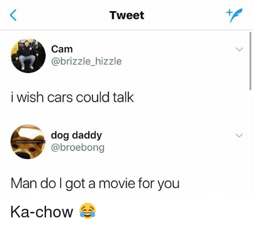 Cars, Movie, and Girl Memes: Tweet  Cam  @brizzle_hizzle  i wish cars could talk  dog daddy  @broebong  Man do l got a movie for you Ka-chow 😂