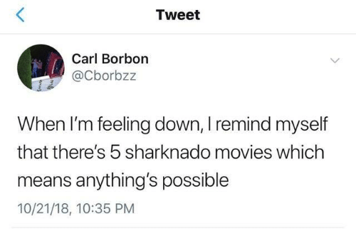 feeling down: Tweet  Carl Borbon  @Cborbzz  When I'm feeling down, I remind myself  that there's 5 sharknado movies which  means anything's possible  10/21/18, 10:35 PM