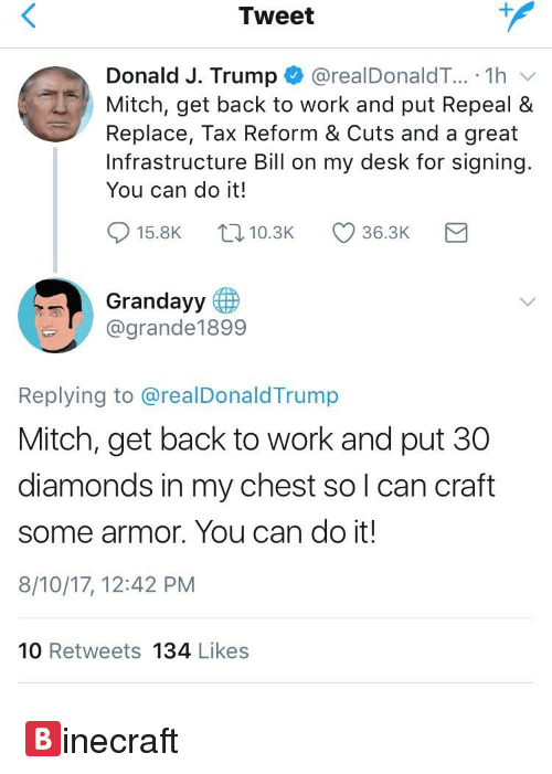 Backes: Tweet  Donald J. Trump * @realDonaldT...-1 h  Mitch, get back to work and put Repeal &  Replace, Tax Reform & Cuts and a great  Infrastructure Bill on my desk for signing  You can do it!  915.8K t, 10.3K 36.3K  Grandayy  @grande1899  Replying to @realDonaldTrump  Mitch, get back to work and put 30  diamonds in my chest so l can craft  some armor. You can do it!  8/10/17, 12:42 PM  10 Retweets 134 Likes