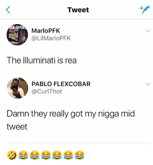 My Nigga, Girl Memes, and Got: Tweet  EAWI  MarloPFkK  @LilMarloPFK  The lluminati is rea  PABLO FLEXCOBAR  @CurlThot  Damn they really got my nigga mid  tweet 🤣😂😂😂😂😂😂