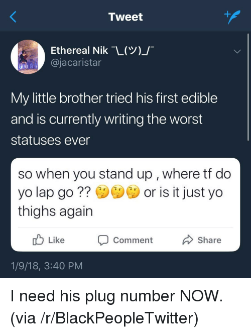 Blackpeopletwitter, The Worst, and Yo: Tweet  Ethereal Nik-L(Y)  @jacaristar  My little brother tried his first edible  and is currently writing the worst  statuses ever  so when you stand up , where tt do  yo lap go? or is it just yo  thighs again  Like  סComment  Share  1/9/18, 3:40 PM <p>I need his plug number NOW. (via /r/BlackPeopleTwitter)</p>