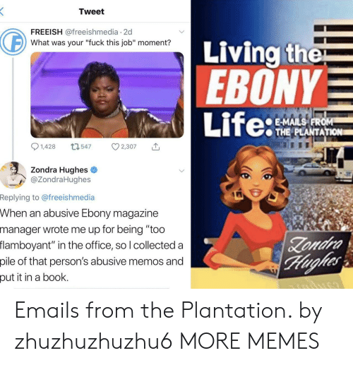 """Emails: Tweet  FREEISH @freeishmedia 2d  Living the  EBONY  Life:  What was your """"fuck this job"""" moment?  E-MAILS FROM  THE PLANTATION  1,428  L1547  2,307  Zondra Hughes  @ZondraHughes  Replying to @freeishmedia  When an abusive Ebony magazine  manager wrote me up for being """"too  flamboyant"""" in the office, so I collected a  Zondra  Hughes  pile of that person's abusive memos and  put it in a book. Emails from the Plantation. by zhuzhuzhuzhu6 MORE MEMES"""