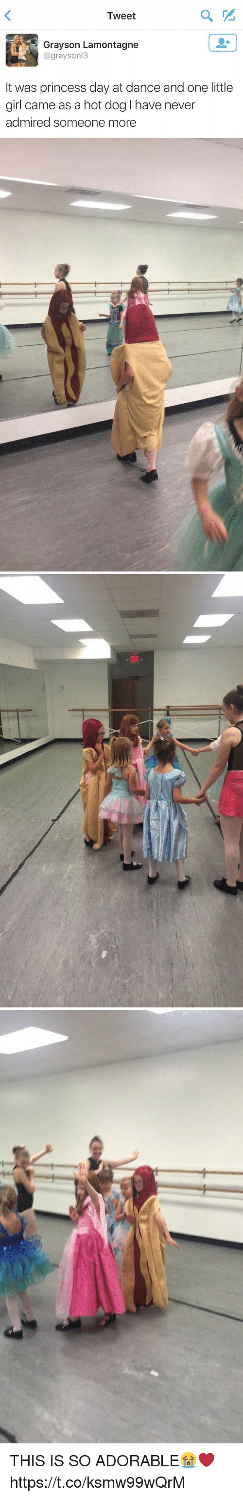 Girl, Princess, and Girl Memes: Tweet  Grayson Lamontagne  @grayson  It was princess day at dance and one little  girl came as a hot dog have never  admired someone more   ac THIS IS SO ADORABLE😭❤️ https://t.co/ksmw99wQrM