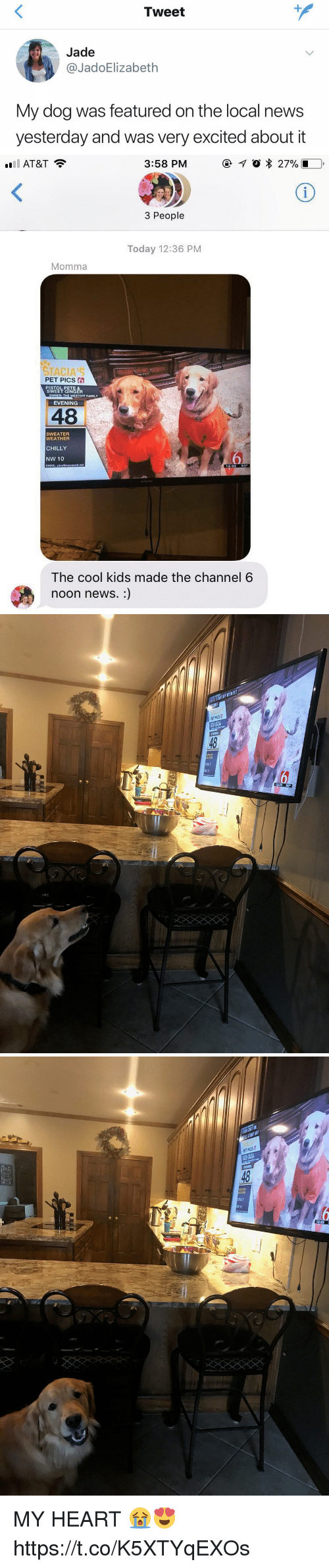 Family, News, and At&t: Tweet  Jade  @JadoElizabeth  My dog was featured on the local news  yesterday and was very excited about it   ''il AT&T  3:58 PM  @イ。* 27% l  3 People  Today 12:36 PM  Momma  STACIA'S  PET PICS  S ONG  EVENING  WNER THE WESTOFF FAMILY  48  SWEATER  WEATHER  CHILLY  NW 10  MALS PI  12:3350%  The cool kids made the channel 6  noon news.:)   EL START OFF WITHPE  49  HLLY   48  CHILLY MY HEART 😭😍 https://t.co/K5XTYqEXOs