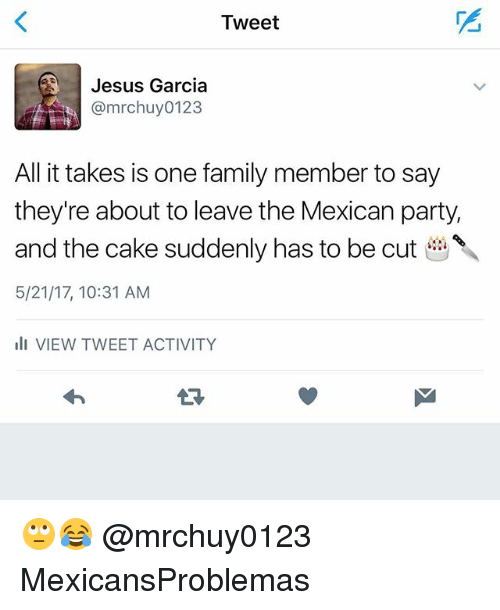 Family, Jesus, and Memes: Tweet  Jesus Garcia  @mrchuy 0123  All it takes is one family member to say  they're about to leave the Mexican party,  and the cake suddenly has to be cut  5/21/17, 10:31 AM  ill VIEW TWEET ACTIVITY 🙄😂 @mrchuy0123 MexicansProblemas