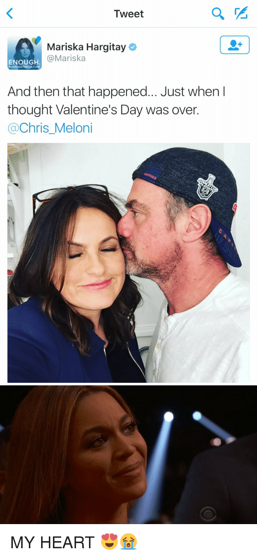 Funny, Heart, and Hearts: Tweet  Mariska Hargitay  Mariska  ENOUGH.  RCHANGETHECULTURE  And then that happened... Just when I  thought Valentine's Day was over.  Chris Meloni   C) MY HEART 😍😭