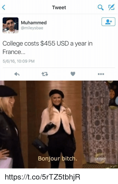 Bitch, Blackpeopletwitter, and College: Tweet  Muhammed  Camileysbae  College costs $455 USD a year in  France.  5/6/16, 10:09 PM   Bonjour bitch https://t.co/5rTZ5tbhjR