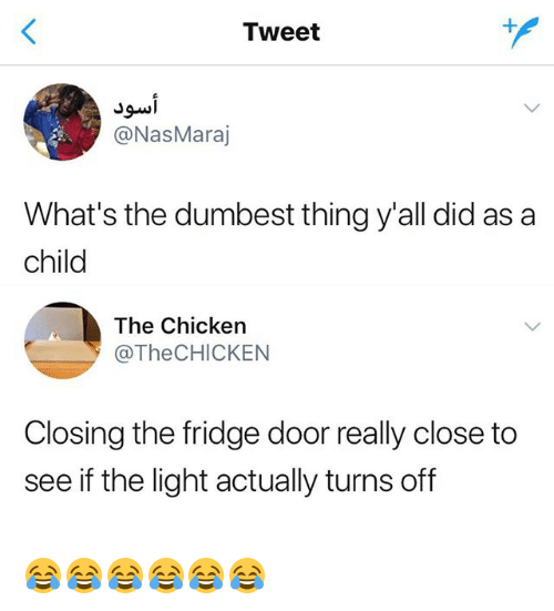 Chicken, Girl Memes, and Light: Tweet  @NasMaraj  What's the dumbest thing y'all did as a  child  The Chicken  @TheCHICKEN  Closing the fridge door really close to  see if the light actually turns off 😂😂😂😂😂😂