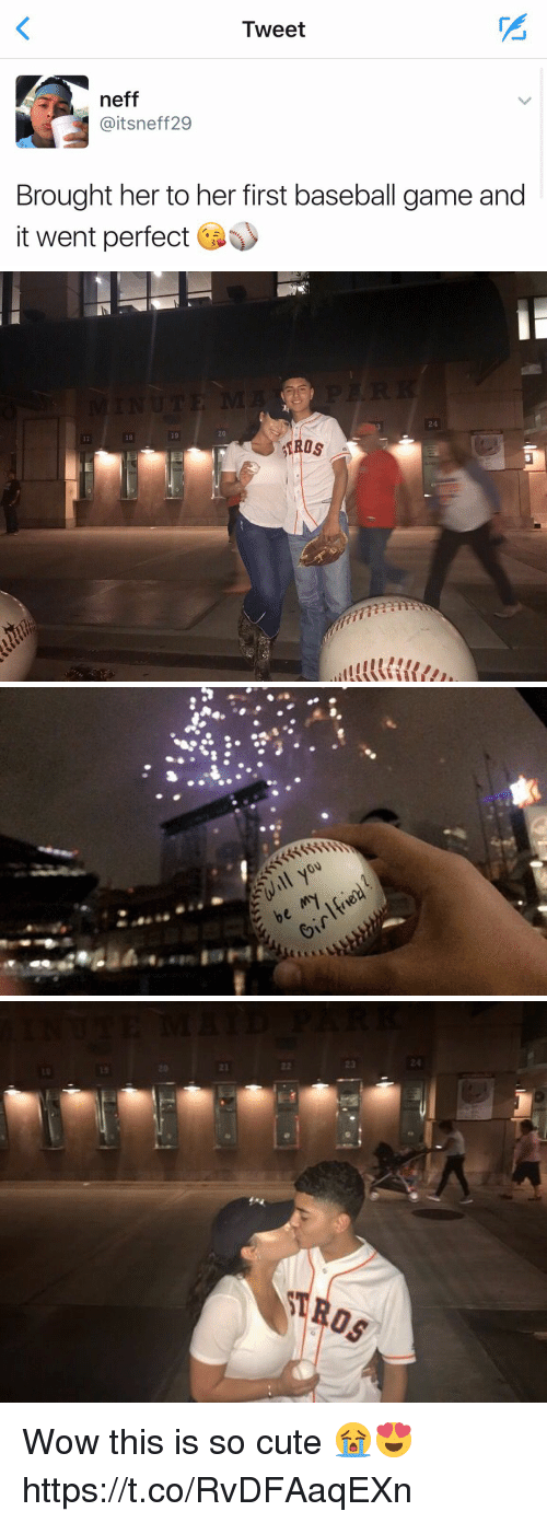 Baseball, Cute, and Funny: Tweet  neff  Gaitsneff 29  Brought her to her first baseball game and  it went perfect   4  20  18  ROSイ  'lllll(沼//u  2   will you  be my!five  en  if   23  22  AROS Wow this is so cute 😭😍 https://t.co/RvDFAaqEXn