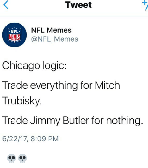Memes Nfl: Tweet  NFL*  NFL Memes  MEMES@NFL_Memes  Chicago logic:  Trade everything for Mitch  Trubisky  Trade Jimmy Butler for nothing  6/22/17, 8:09 PM 💀💀