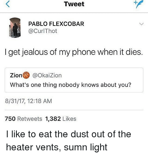 Jealous, Phone, and Trendy: Tweet  PABLO FLEXCOBAR  @CurlThot  I get jealous of my phone when it dies.  zion○ @OkaiZion  What's one thing nobody knows about you?  8/31/17, 12:18 AM  750 Retweets 1,382 Likes I like to eat the dust out of the heater vents, sumn light