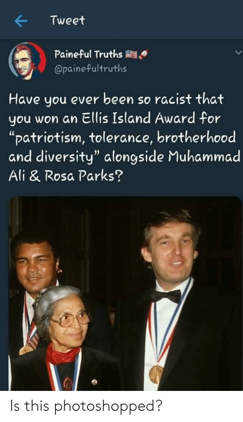 """ellis island: Tweet  Paineful Truths  @painefultruths  Have you ever been so racist that  you won an Ellis Island Award for  """"patriotism, tolerance, brotherhood  and diversity"""" alongside Muhammad  Ali & Rosa Parks? Is this photoshopped?"""