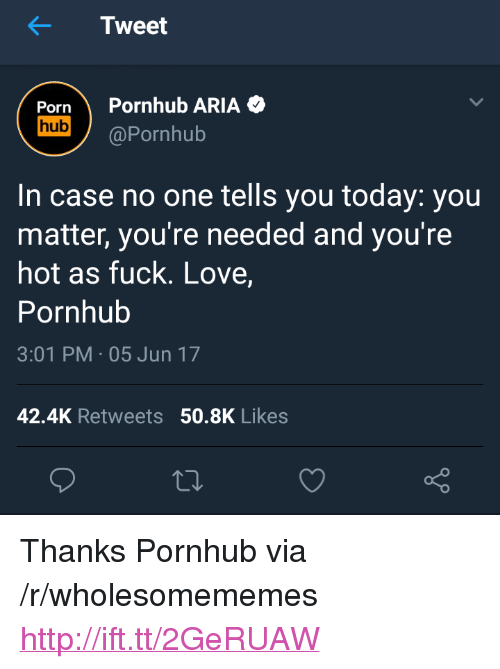 "Love, Pornhub, and Fuck: Tweet  Porn Pornhub ARIA  hub @Pornhub  In case no one tells you today: you  matter, you're needed and you're  hot as fuck. Love,  Pornhub  3:01 PM 05 Jun 17  42.4K Retweets 50.8K Likes <p>Thanks Pornhub via /r/wholesomememes <a href=""http://ift.tt/2GeRUAW"">http://ift.tt/2GeRUAW</a></p>"