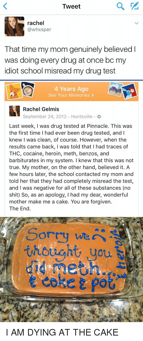 You Are Forgiven: Tweet  rachel  (a whxsper  That time my mom genuinely believed  was doing every drug at once bc m  idiot school misread my drug test   4 Years Ago  See Your Memories  Rachel Gelmis  September 24, 2012. Huntsville  Last week, I was drug tested at Pinnacle. This was  the first time had ever been drug tested, and l  knew I was clean, of course. However, when the  results came back, I was told that I had traces of  THC, cocaine, heroin, meth, benzos, and  barbiturates in my system. I knew that this was not  true. My mother, on the other hand, believed it. A  few hours later, the school contacted my mom and  told her that they had completely misread the test,  and was negative for all of these substances (no  shit) So, as an apology, I had my dear, wonderful  mother make me a cake. You are forgiven.  The End   Sorry we  thought you I AM DYING AT THE CAKE