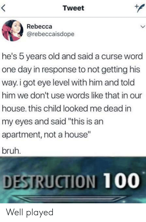 """In Response To: Tweet  Rebecca  @rebeccaisdope  he's 5 years old and said a curse word  one day in response to not getting his  way. i got eye level with him and told  him we don't use words like that in our  house. this child looked me dead in  my eyes and said """"this is an  apartment, not a house""""  bruh.  DESTRUCTION 100 Well played"""
