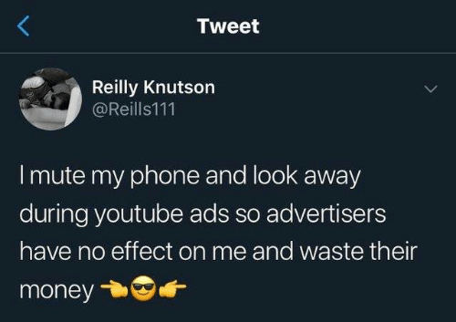 look-away: Tweet  Reilly Knutson  @Reills111  I mute my phone and look away  during youtube ads so advertisers  have no effect on me and waste their  money