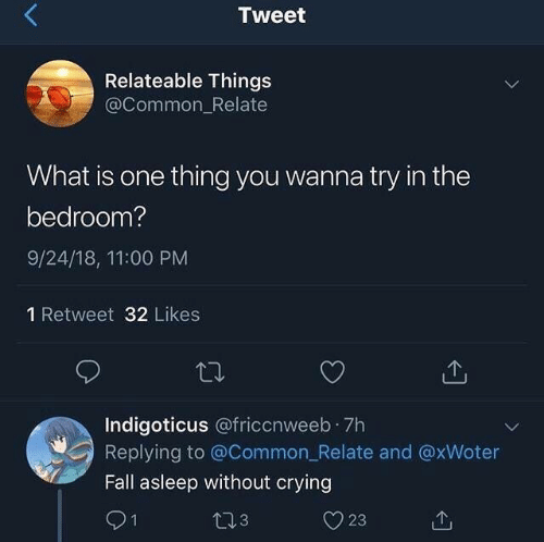 relateable: Tweet  Relateable Things  @Common_Relate  What is one thing you wanna try in the  bedroom?  9/24/18, 11:00 PM  1 Retweet 32 Likes  Indigoticus @friccnweeb 7h  Replying to @Common_Relate and @xWoter  Fall asleep without crying  91  23  t13