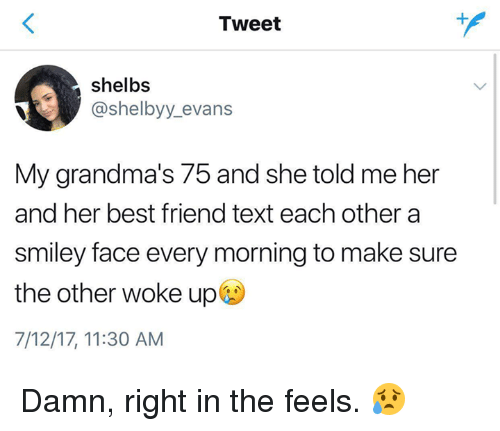 smileys: Tweet  shelbs  @shelbyy_evans  My grandma's 75 and she told me her  and her best friend text each other a  smiley face every morning to make sure  the other woke up  7/12/17, 11:30 AM Damn, right in the feels. 😥