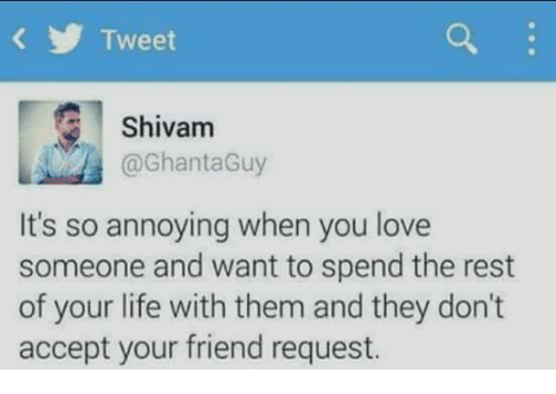 memes: Tweet  Shivam  @GhantaGuy  It's so annoying when you love  someone and want to spend the rest  of your life with them and they don't  accept your friend request.