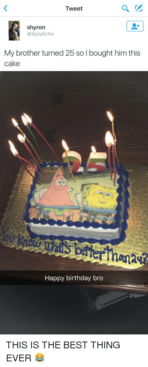 happy birthday bro: Tweet  shyron  @Sysy Echo  My brother turned 25 so l bought him this  cake   Happy birthday bro THIS IS THE BEST THING EVER 😂