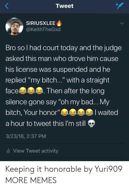 "honorable: Tweet  SIRIUSXLEE  @KeithTheGxd  Bro so l had court today and the judge  asked this man who drove him cause  his license was suspended and he  replied ""my bitch..."" with a straight  face  silence gone say ""oh my bad... My  bitch, Your honor""  a hour to tweet this I'm still  3/23/18, 2:37 PM  li View Tweet activity  Then after the long  I waited Keeping it honorable by Yuri909 MORE MEMES"