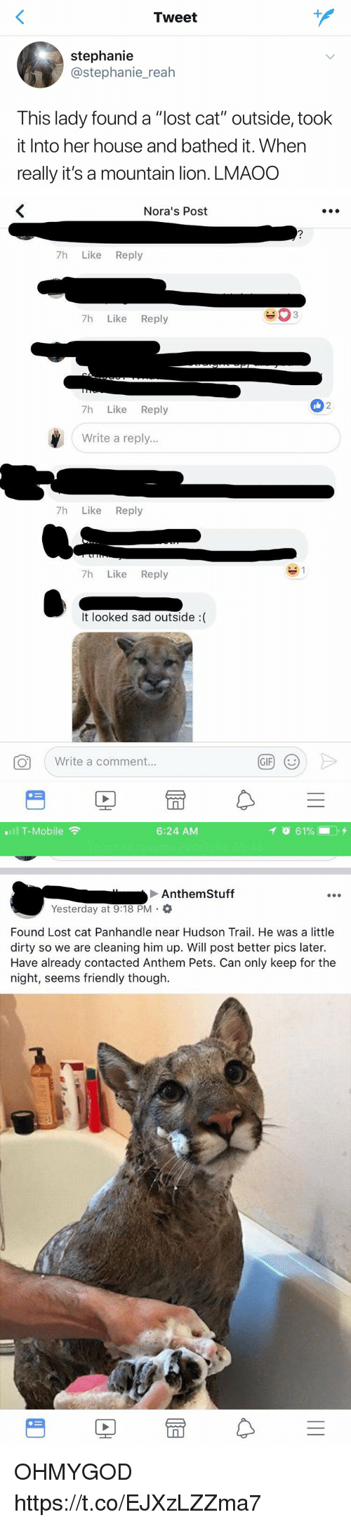 """Gif, T-Mobile, and Lost: Tweet  stephanie  @stephanie_reah  This lady found a """"lost cat"""" outside, took  it Into her house and bathed it. When  really it's a mountain lion. LMAOO   Nora's Post  7h Like Reply  7h Like Reply  2  7h Like Reply  Write a reply...  7h Like Reply  7h Like Reply  It looked sad outside :(  Write a comment.  GIF   .111 T-Mobile令  6:24 AM  イ  61%- . +  Anthem Stuff  Yesterday at 9:18 PM .  Found Lost cat Panhandle near Hudson Trail. He was a little  dirty so we are cleaning him up. Will post better pics later.  Have already contacted Anthem Pets. Can only keep for the  night, seems friendly though.  PE OHMYGOD https://t.co/EJXzLZZma7"""