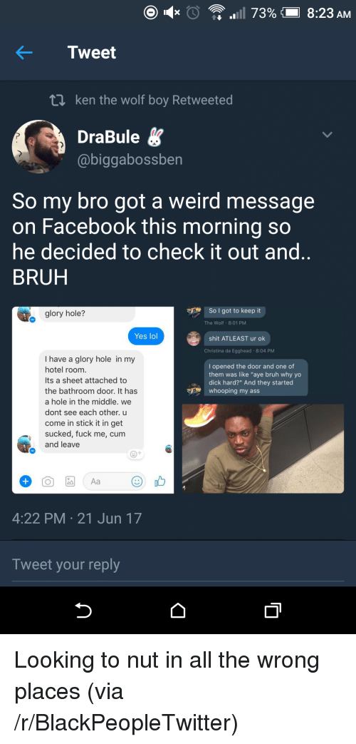 """glory hole: Tweet  t1 ken the wolf boy Retweeted  DraBule  @biggabossben  So my bro got a weird message  on Facebook this morning so  he decided to check it out and  BRUH  glory hole?  So I got to keep it  The Wolf 8:01 PM  Yes lol  shit ATLEAST ur ok  Christina da Egghead 8:04 PM  I have a glory hole in my  hotel room  Its a sheet attached to  the bathroom door. It has  a hole in the middle. we  dont see each other. u  come in stick it in get  sucked, fuck me, cum  and leave  I opened the door and one of  them was like """"aye bruh why yo  dick hard?"""" And they started  whooping my ass  4:22 PM 21 Jun 17  Tweet your reply <p>Looking to nut in all the wrong places (via /r/BlackPeopleTwitter)</p>"""