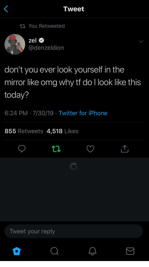 Like Omg: Tweet  ta You Retweeted  zel  @denzeldion  don't you ever look yourself in the  mirror like omg why tf do I look like this  today?  6:24 PM 7/30/19 Twitter for iPhone  855 Retweets 4,518 Likes  Tweet your reply  ΙΣ