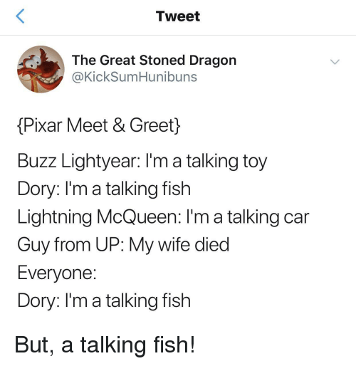 lightning mcqueen: Tweet  The Great Stoned Dragon  @KickSumHunibuns  Pixar Meet & Greet}  Buzz Lightyear: I'm a talking toy  Dory: l'm a talking fish  Lightning McQueen: I'm a talking car  Guy from UP: My wife died  Everyone  Dory: Im a talking fish But, a talking fish!